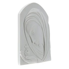 Our Lady with cross, 22 cm bas-relief in reconstituted marble s4