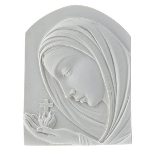 Our Lady with cross, 22 cm bas-relief in reconstituted marble 1
