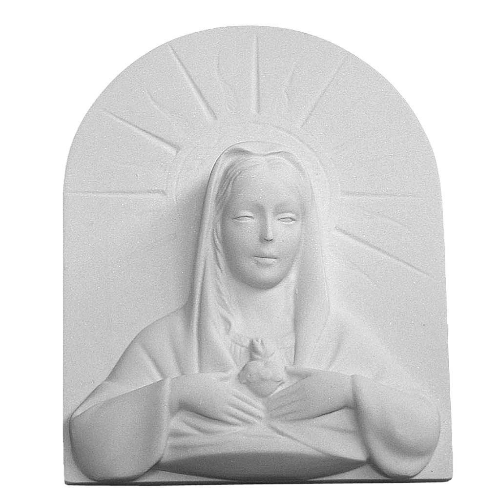 Coeur Immaculé 11 cm bas relief marbre reconstitué 3