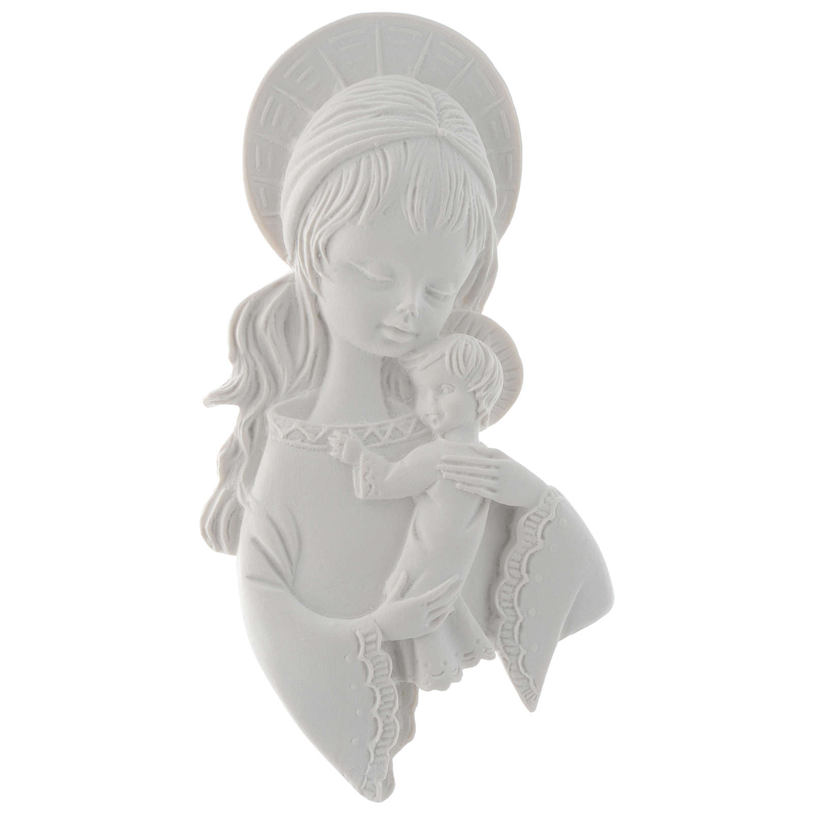 Our Lady with child bas-relief, 15 cm, reconstituted marble 3