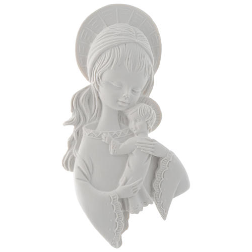 Our Lady with child bas-relief, 15 cm, reconstituted marble 1