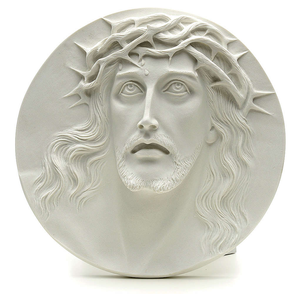 Ecce Homo, bas-relief in reconstituted marble, round shaped 15-20-30 cm 3