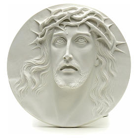 Ecce Homo, bas-relief in reconstituted marble, round shaped 15-20-30 cm s1