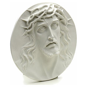 Ecce Homo, bas-relief in reconstituted marble, round shaped 15-20-30 cm s2
