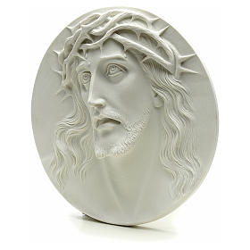 Ecce Homo, bas-relief in reconstituted marble, round shaped 15-20-30 cm s3