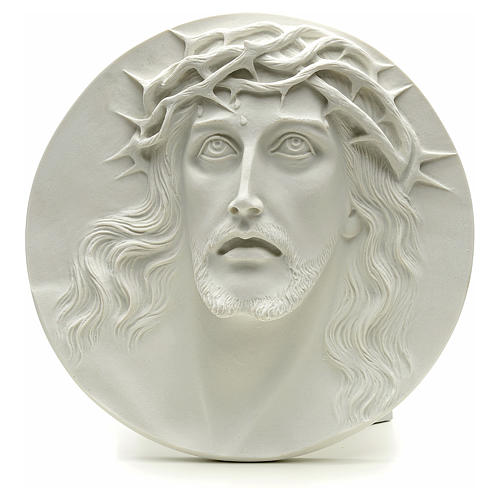 Ecce Homo, bas-relief in reconstituted marble, round shaped 15-20-30 cm 1