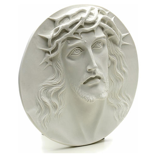 Ecce Homo, bas-relief in reconstituted marble, round shaped 15-20-30 cm 2