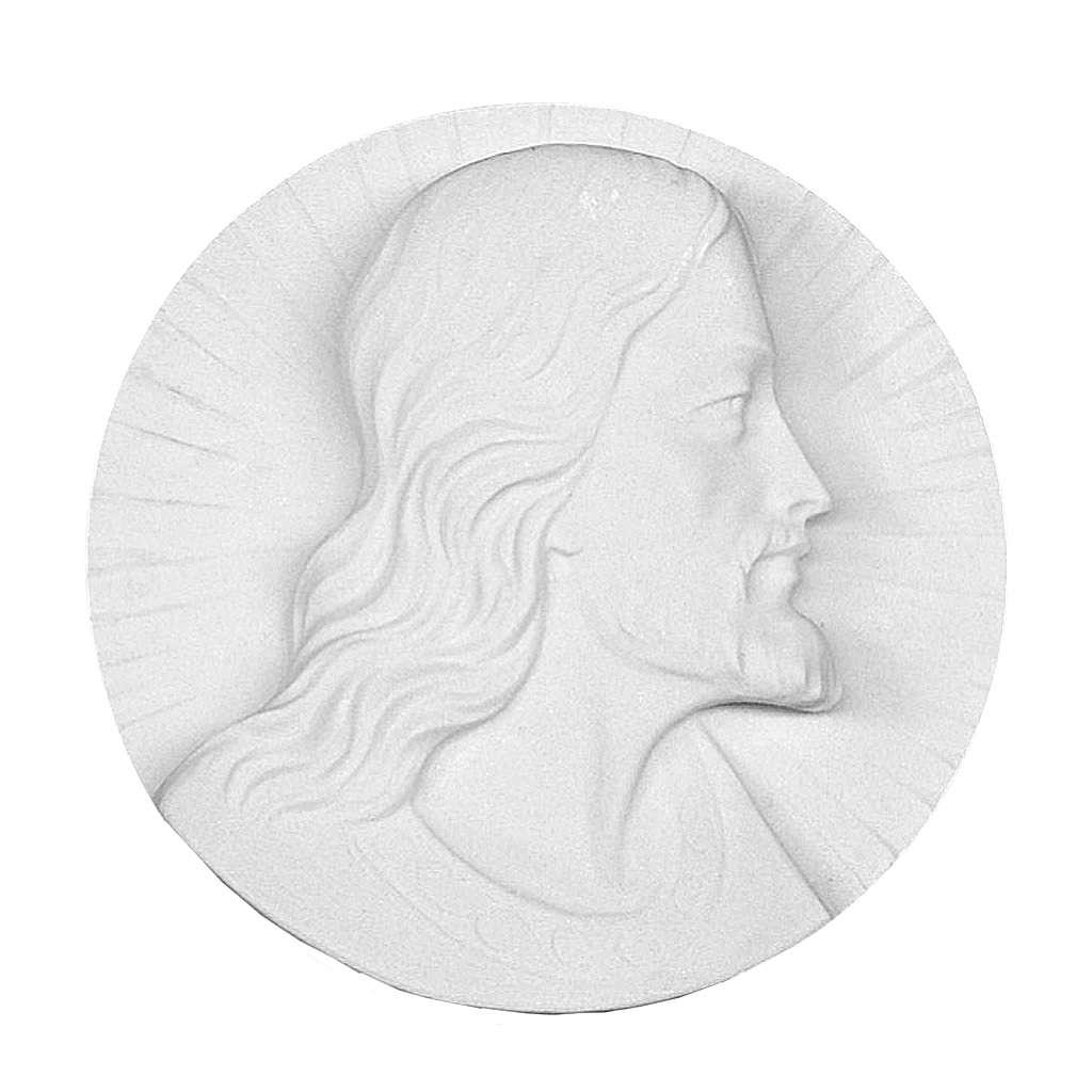 Volto di Cristo tondo marmo bianco 14-19 cm 3