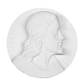 Volto di Cristo tondo marmo bianco 14-19 cm s1