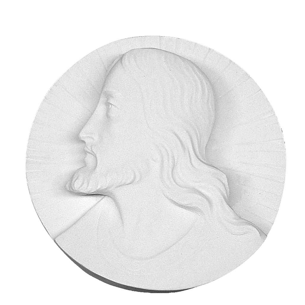 Christ's face,  round shaped bas-relief in reconstituted marble 14-19 cm 3
