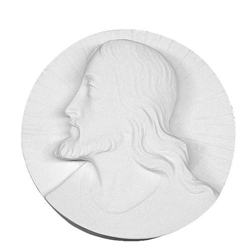 Christ's face,  round shaped bas-relief in reconstituted marble 14-19 cm 1