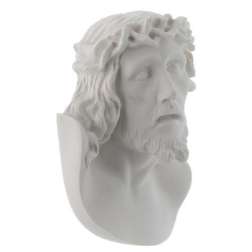 Rostro de Cristo de 10 cm en polvo de mármol de Carrara 2