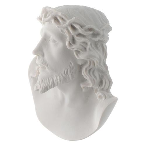Rostro de Cristo de 10 cm en polvo de mármol de Carrara 3