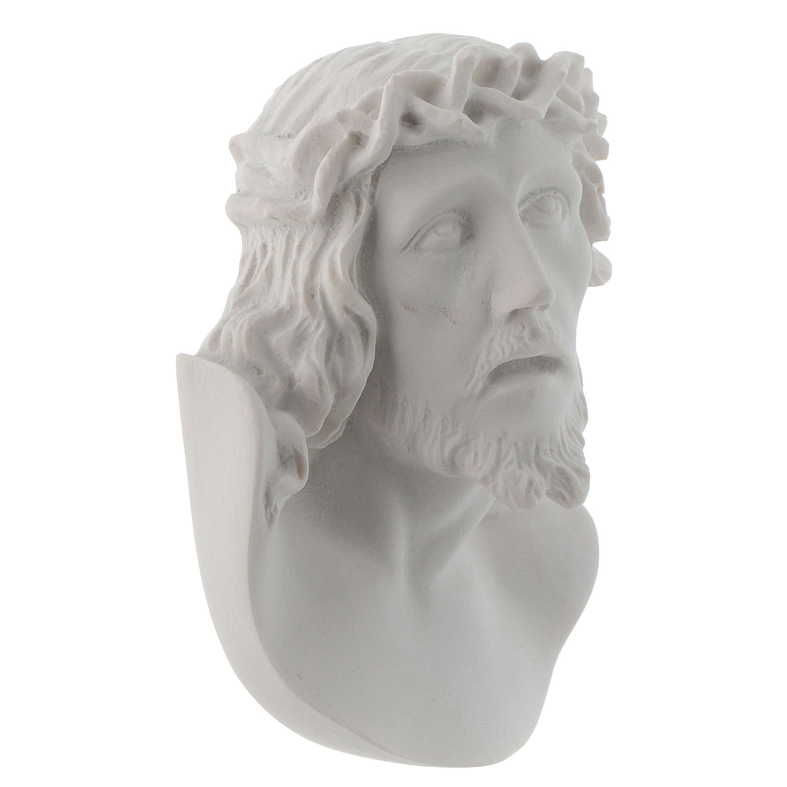 Christ's face, 10 cm bas-relief in reconstituted carrara marble 3