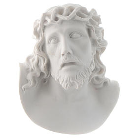 Christ's face, 10 cm bas-relief in reconstituted carrara marble s1