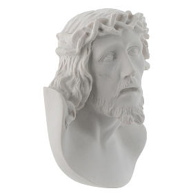 Christ's face, 10 cm bas-relief in reconstituted carrara marble s2