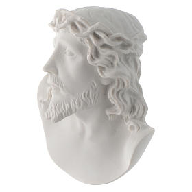Christ's face, 10 cm bas-relief in reconstituted carrara marble s3