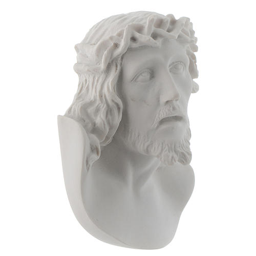 Christ's face, 10 cm bas-relief in reconstituted carrara marble 2