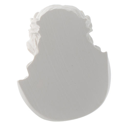 Christ's face, 10 cm bas-relief in reconstituted carrara marble 4
