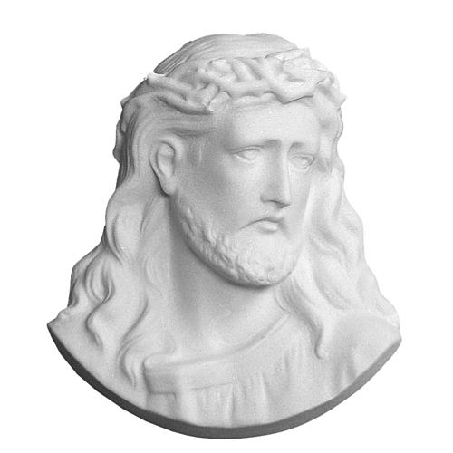 Christ's face bas-relief in reconstituted carrara marble, 10 cm 1