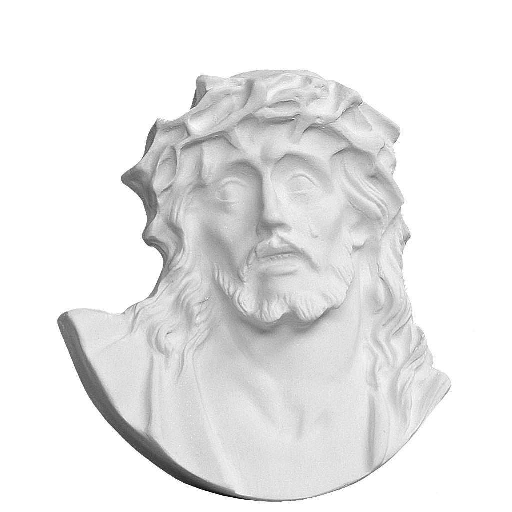 Volto di Cristo in polvere di marmo di Carrara 12-17 cm 3