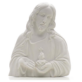 Sacred Heart of Jesus bas-relief made of reconstituted carrara 24-35 cm s1