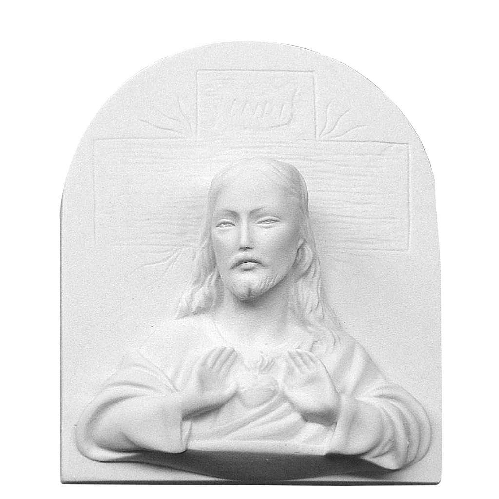 Sacro Cuore di Gesù in rilievo marmo cm 16 3
