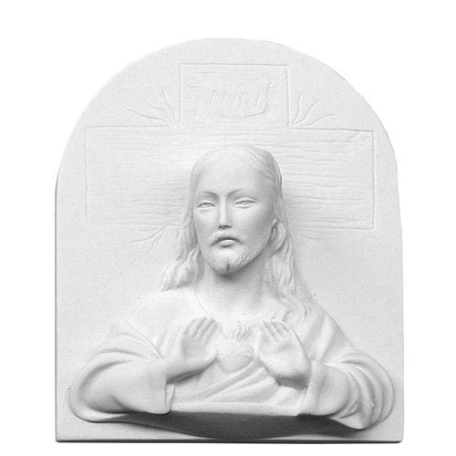 Sacro Cuore di Gesù in rilievo marmo cm 16 1