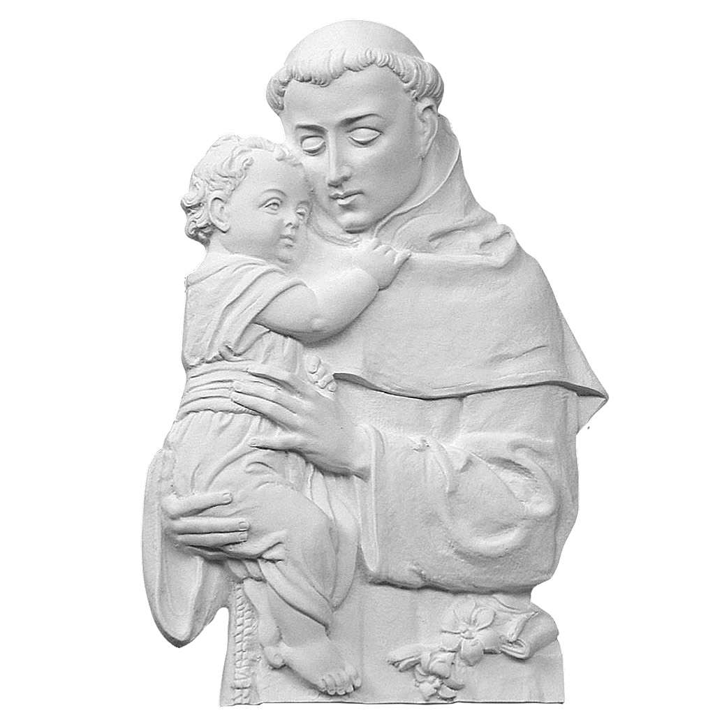 Saint Anthony of Padua bas-relief in reconstituted marble, 32cm 3
