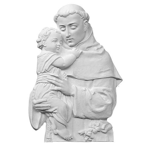 Saint Anthony of Padua bas-relief in reconstituted marble, 32cm 1