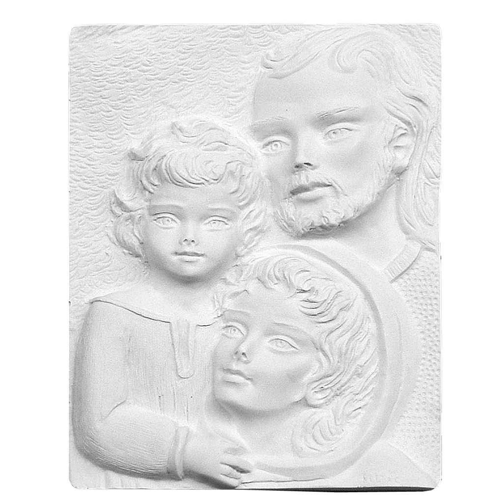 Sacra Famiglia rilievo 23 cm marmo sintetico rilievo 3