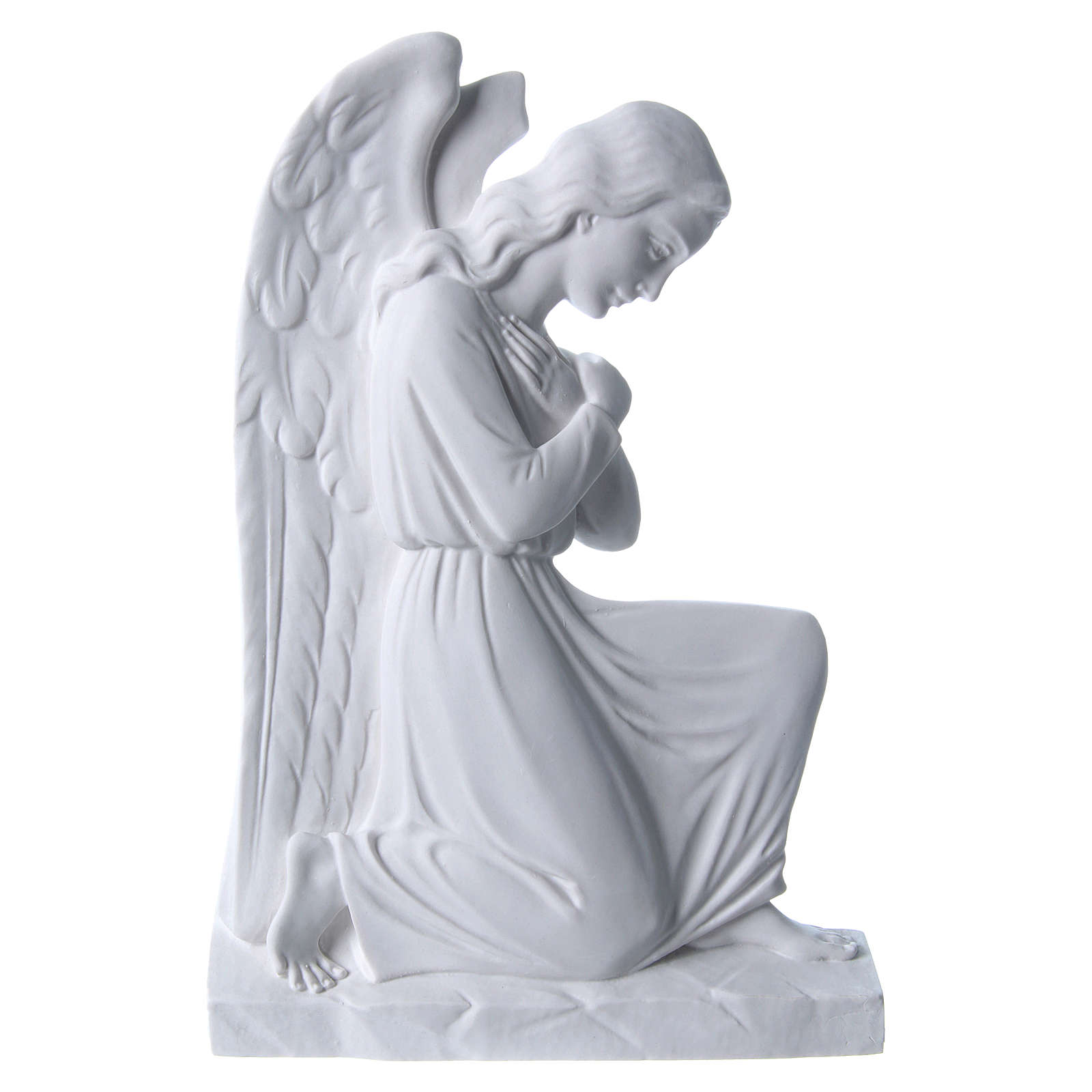 Angel with crossed arms, 25cm bas-relief in reconstituted marble 3