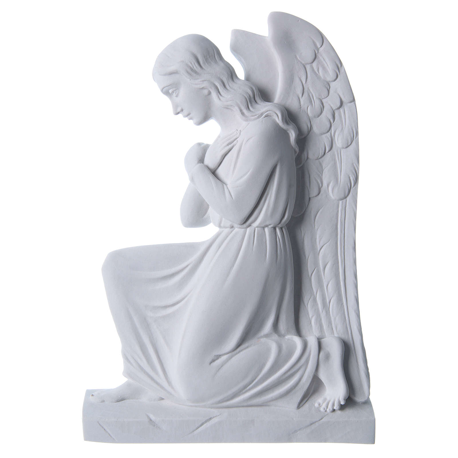 Engel auf den Knien 25 cm Relief weiß 3