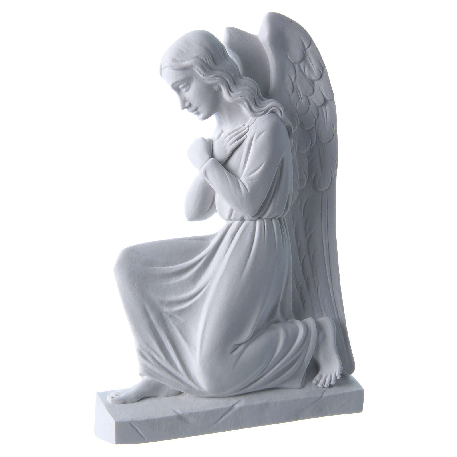 Angel with crossed arms, reconstituted marble bas-relief, 25cm 3
