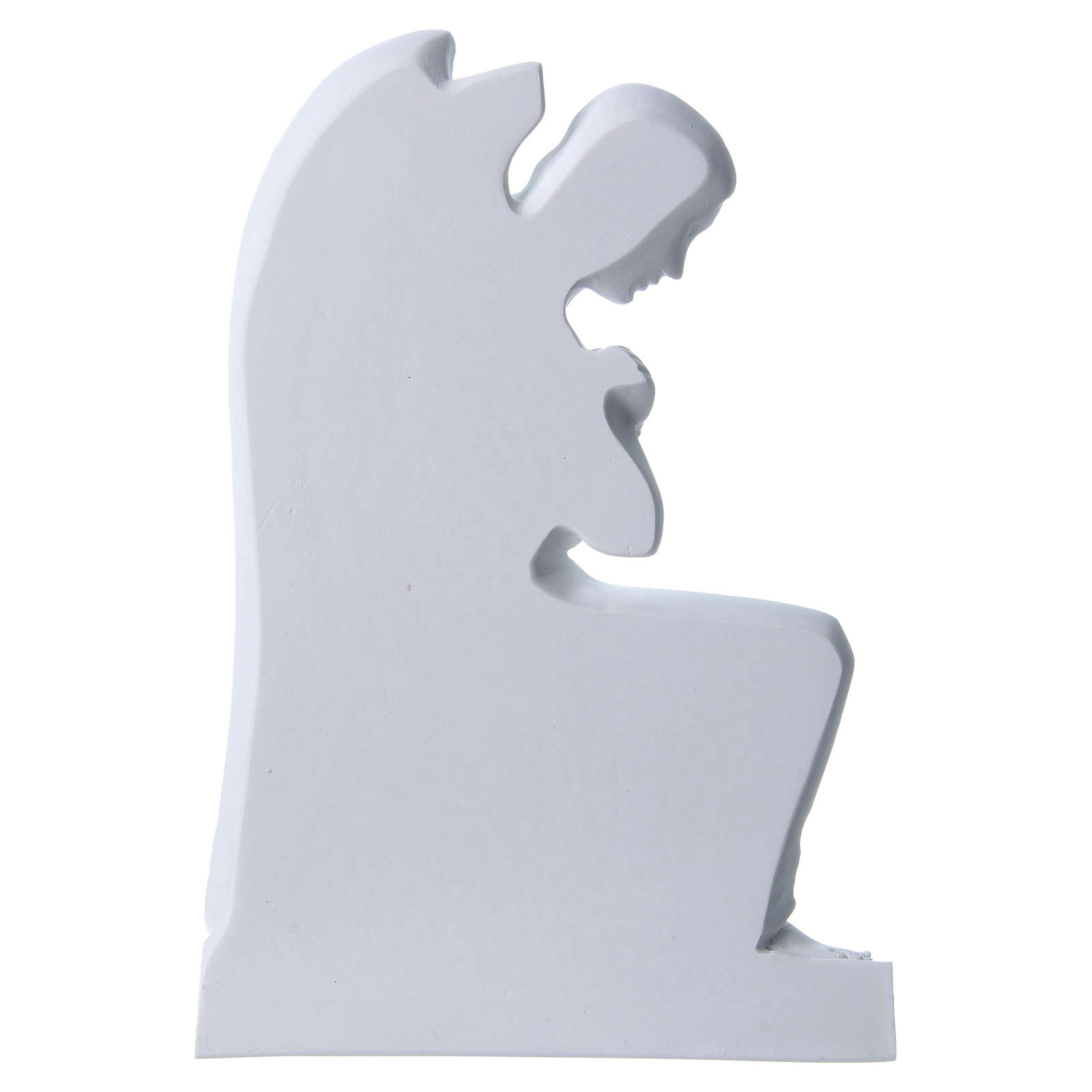 Angel with crossed arms, reconstituted marble bas-relief, 35cm 3
