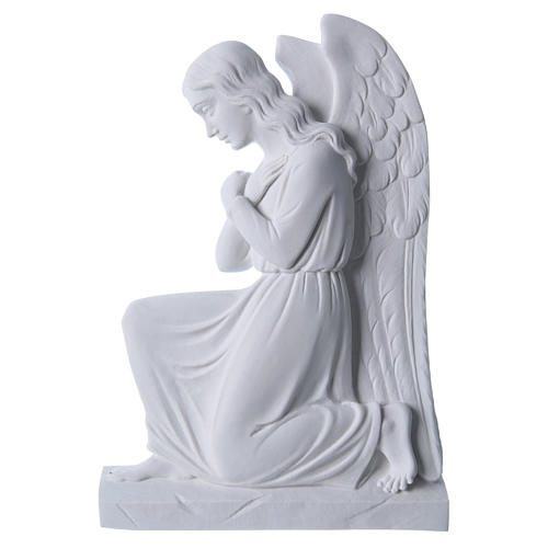Angel with crossed arms, reconstituted marble bas-relief, 25cm 1