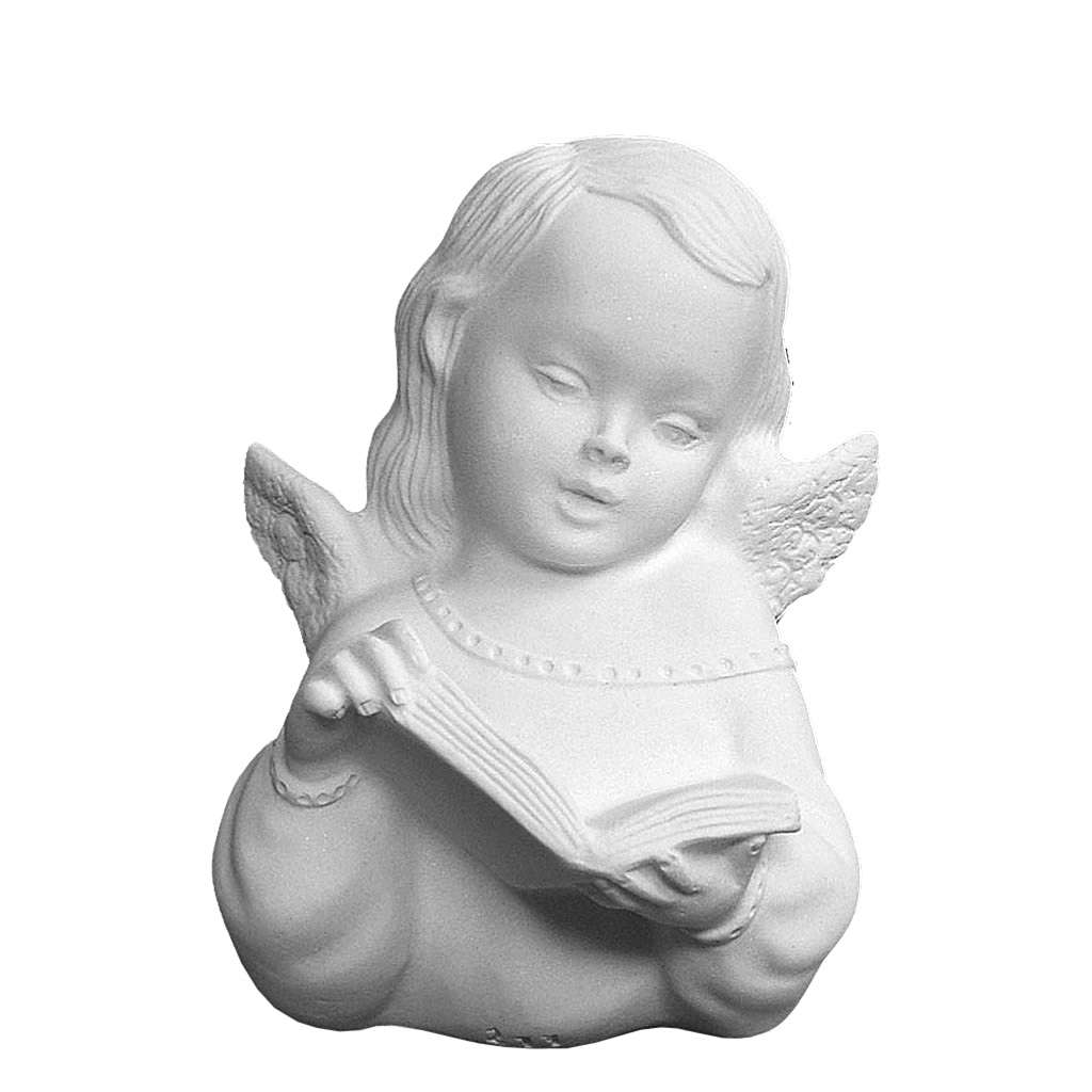 Angel with book, reconstituted carrara marble bas-relief, 13 cm 3