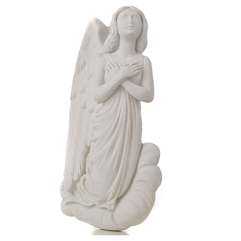 Angel on cloud, 24 cm reconstituted carrara marble bas-relief 3