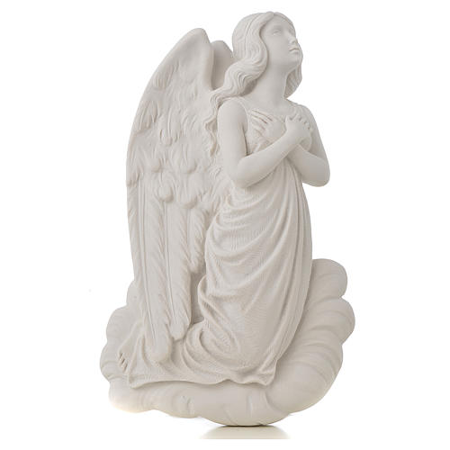 Angel on cloud, 24 cm reconstituted carrara marble bas-relief 1