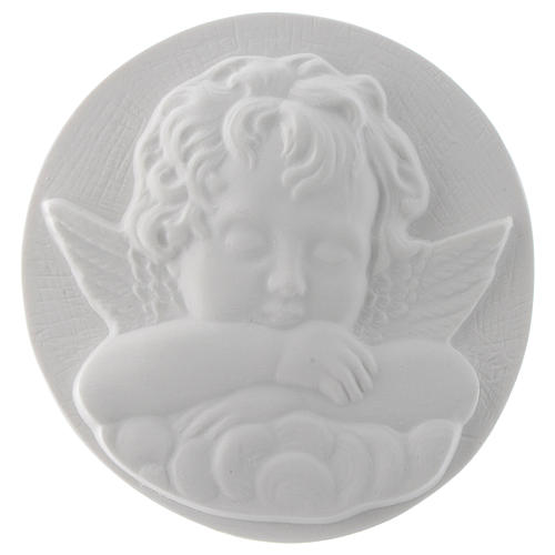 Angioletto dormiente tondo cm 11 rilievo marmo 1