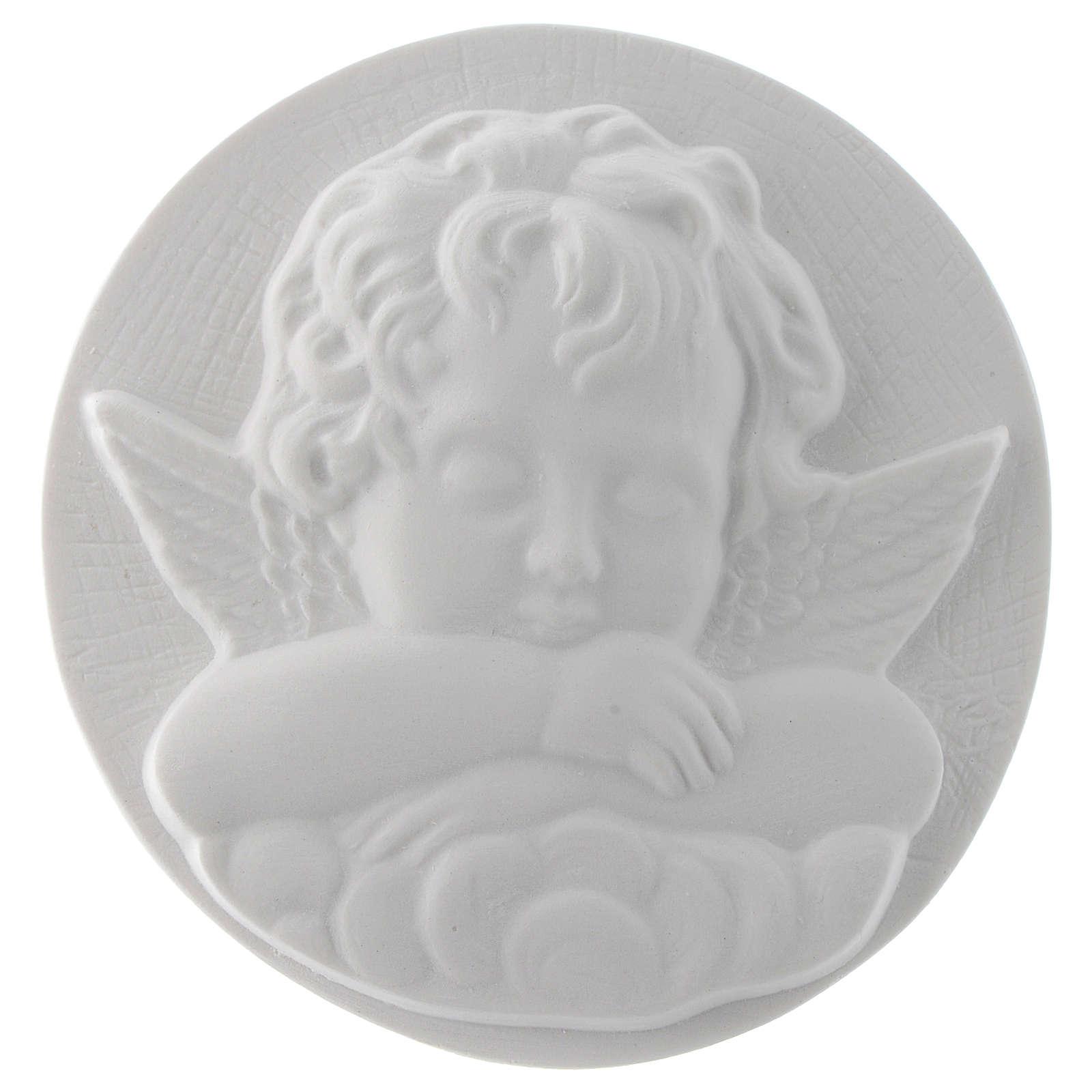 Aniołek śpiący cm 11 okrągły relief marmur 3