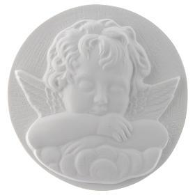 Aniołek śpiący cm 11 okrągły relief marmur s1