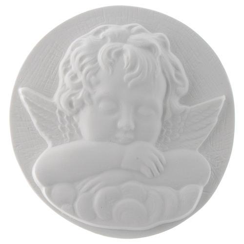 Aniołek śpiący cm 11 okrągły relief marmur 1