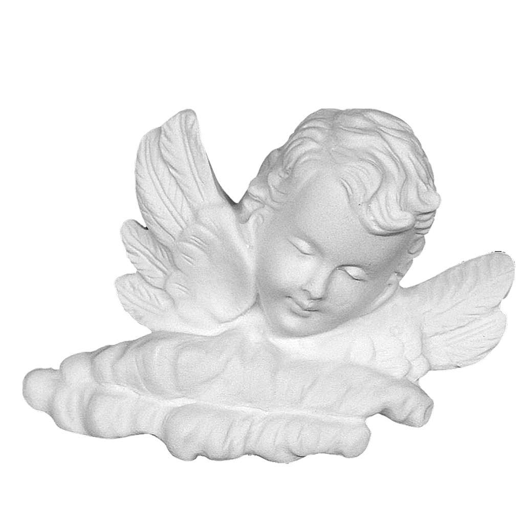 Angel head, recontituted carrara marble bas-relief, 11 cm 3