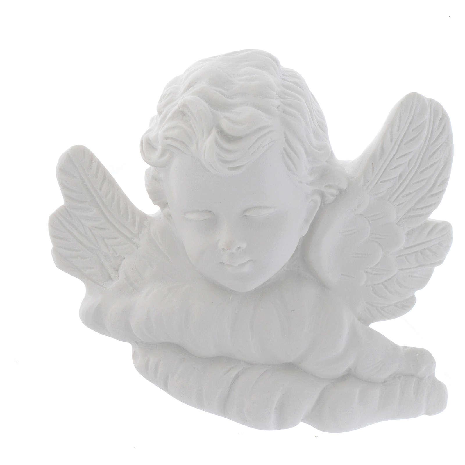 Testina angioletto 11 cm marmo rilievo 3