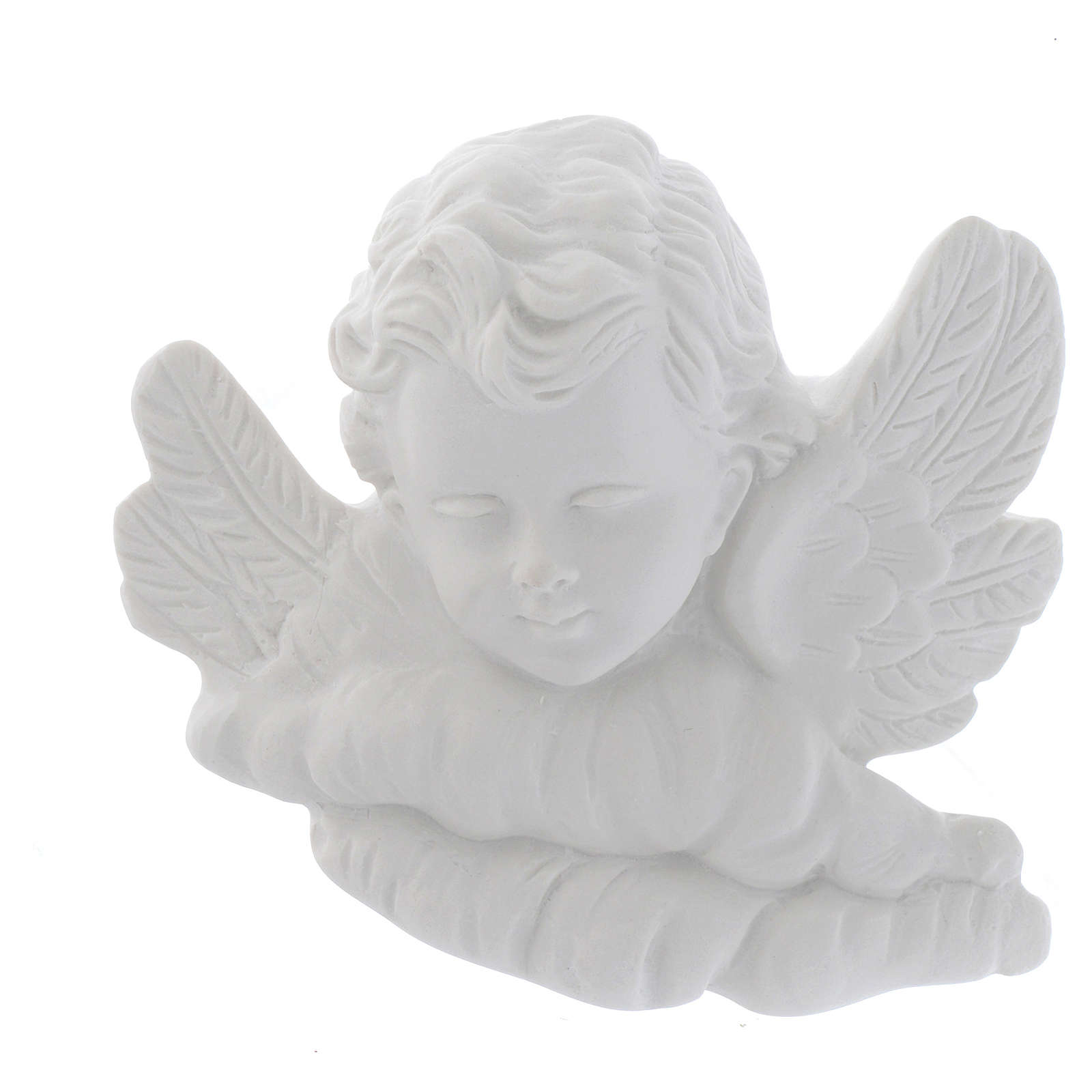 Angel head bas-relief in recontituted carrara marble, 11 cm 3