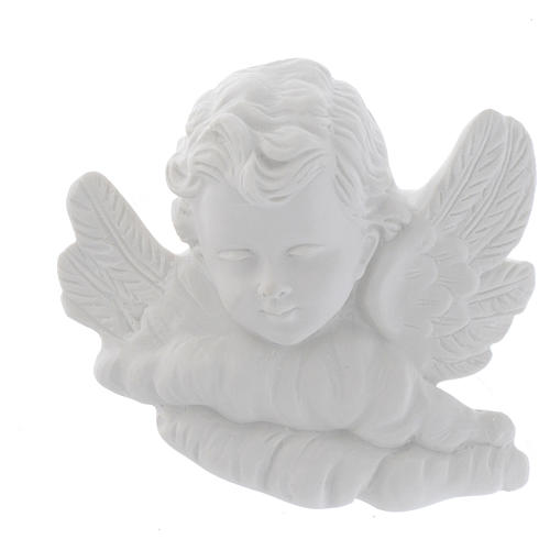 Angel head bas-relief in recontituted carrara marble, 11 cm 1