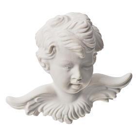 Bas relief tête d'ange 11 cm marbre blanc s1