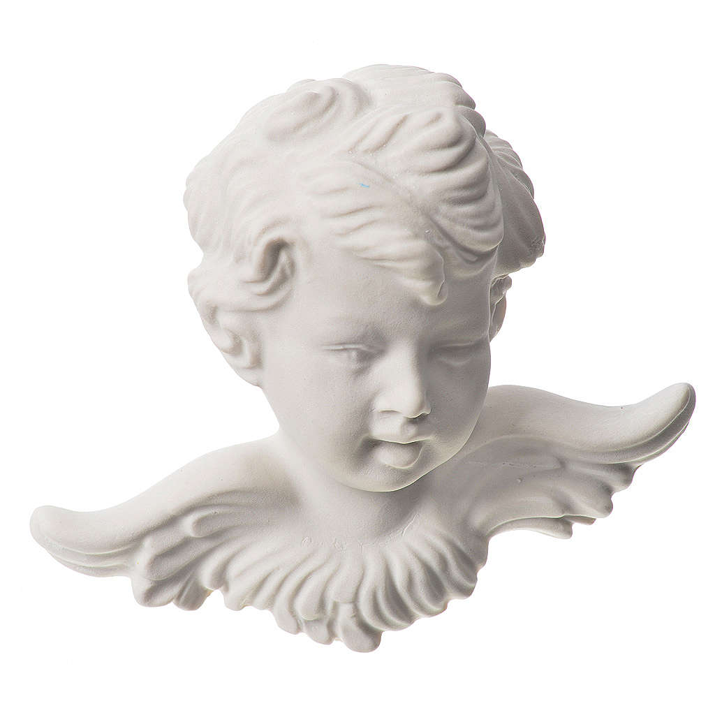 Angel head, 11 cm bas-relief in recontituted carrara marble 3