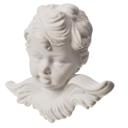 Angel head, 11 cm bas-relief in recontituted carrara marble 2